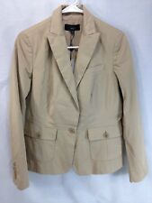 NEW Talbots Blazer Coat Jacket Womens 10 Petite The Kate Fit Beige Cotton Blend