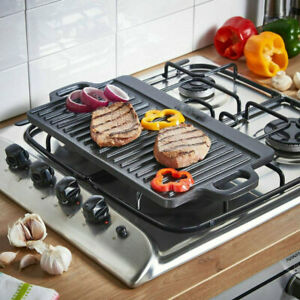 S/M/L Cast Iron Non Stick Griddle Plate BBQ Grill Reversible Cooking Hob Steak