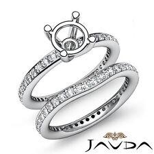 Diamond Engagement Wedding Ring Bridal Set Band SemiMount 14k Gold White 1.26Ct
