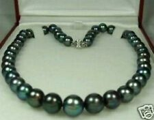 "beautiful Natural 9-10mm Tahitian Black Pearl Necklace 18"" AAA"