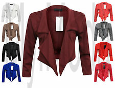 H1A Women's Waterfall Style Cropped Ladies Blazer Jacket Coat Top Size 8-18 plus