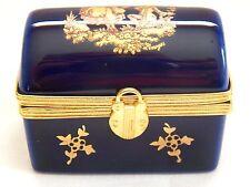 VINTAGE COBALT BLUE & GOLD LIMOGES TRINKET BOX, MADE IN FRANCE
