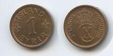 G0672 - Iceland 1 Eyrir 1942 KM#5.2 XF-UNC Christian X.1912-1944 Island