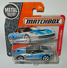 matchbox '15 Corvette Stingray Silver & Light blue Polizei Police Car MOC S/Card