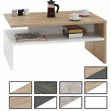 Table basse de salon rectangulaire avec compartiment rangement ouvert mélaminé