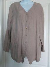 EILEEN FISHER 100% Linen Button Front Jacket Top Sz 12 -b1
