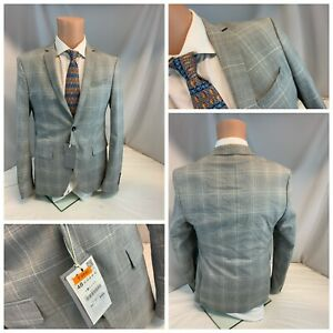Zara Man Blazer 38R 2B 2V Gray Plaid Poly Viscose Stretch NWT YGI L0-267