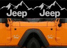 """(2) Silver Metallic 4"""" x 6"""" Jeep Mountain Vinyl Decal Stickers New Free Shipping"""