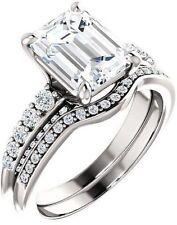 1.40 carat Emerald & Round cut Diamond Engagement 14k White Gold Ring G SI1