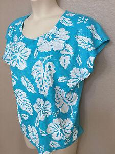 $120 Michael Kors Women's Blue/White Sequin Floral Crew Neck Cap Sleeve Top Plus