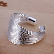 Silver Plated Lines Ring.Adjustable Womens 925 Sterling  Size K and Upwards