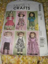 "McCalls 5554 Sewing Pattern 18"" Doll CLOTHES Dress Legging Backpack Hat Wardrobe"