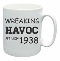 80th Novelty Birthday Gift Present Tea Mug Wreaking Havoc Since 1938 Coffee Cup