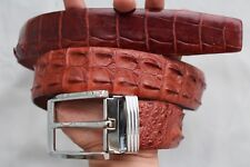 Without Jointed -Red Brown Genuine CROCODILE LEATHER Skin Men's Belt -W 1.5 inch
