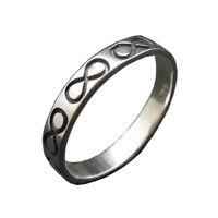 Handgefertigt Sterling Silber Ring Band 4mm Unendlichkeit Solide Punziert 925