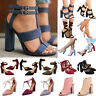 Womens Block High Heels Pointed/Peep Toe Sandals Ankle Chunky Strap Party Shoes