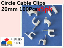 500Pcs 20mm Circle White Cable Clips Cable Plastic Nail