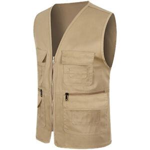 Men Fishing Hiking Vest Jacket Sleeveless Multi Pocket Coat Summer Waistcoat Top