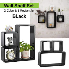 BLACK SET 3 CUBE RECTANGLE WALL MOUNTED SHELVES FLOATING SHELF BOOKCASE HANGING