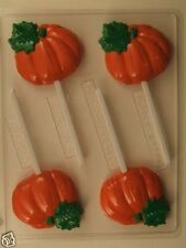PUMPKIN LOLLIPOP CLEAR PLASTIC CHOCOLATE CANDY MOLD T018