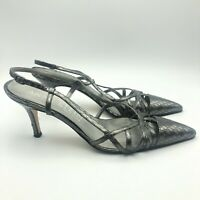 Women's Anne Klein New York Silver Leather Evening Heels-size 7.5 Made In Italy