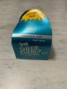 VTG Sheer Energy L'eggs Control Top Sheer Toe Pantyhose TAUPE Queen Plus NOS