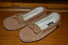 Clarks Brown Leather Faux Fur Lined Moccasin Deck Boat Slippers Shoes Womens 8M