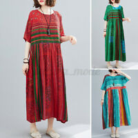 Women Short Sleeve Rainbow Stripe Casual Long Maxi Floral Printed Dress Oversize