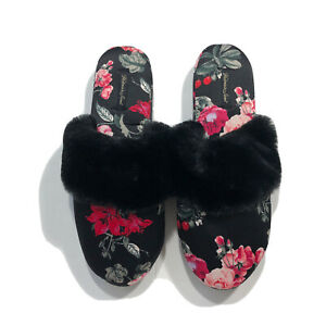 Victoria's Secret Signature Satin Slippers W/Dust Bag Black Floral Large 9/10