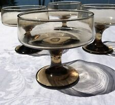 Mid Century Modern Coupe Champagne Martini Glasses SET 4 Clear smoked Vintage