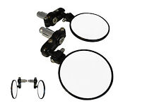 "Fold In Fold Up Satin Black 7/8"" 22mm Motorcycle Motorbike Bar End Mirrors PAIR"