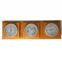70er Jahre Skan Design Massiv Buche Alu Barometer Wetterstation ca.32 x 10 cm