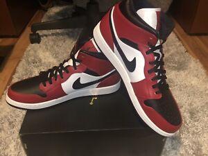 Nike Air Jordan 1 Mid Men's Basketball Shoes - Black/Gym-Red/White, Size 13