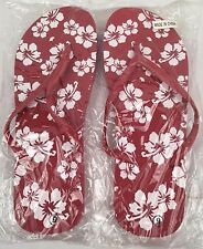 NEW Women's Size 9 Red and White Tropical Flip Flops with Hibiscus Flowers Beach