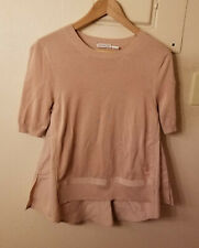 New! Moncler Cotton & Nylon Ruffled Back T-Shirt Pink Womens Size XS MSRP $450
