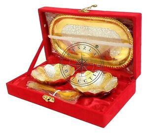 Silver & Gold Plated Brass Engraved Serving Tray, Bowl Set With Spoon & Box