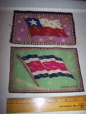 Vintage Antique Felt Cigar Box Flags Chili & Costa Rica