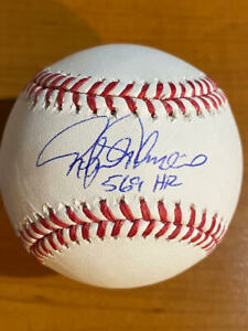 "Rafael Palmeiro ""569 HR"" -  Signed Inscribed Rawlings OML Baseball - JSA witness"
