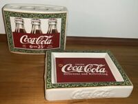 Coca Cola ceramic bathroom accessories...soap dish, toothbrush holder
