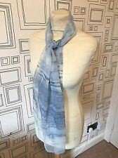 VINTAGE 80S S BLUE STRIPE SHEER RETRO SCARF