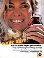 1964 Smiling Blonde Girl Pepsi Cola come alive vintage photo print ad adL66