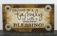 PRIMITIVE COUNTRY WOOD LOVE FAMILY BLESSING BLOCK SIGN HANDMADE HOME DECOR 0655