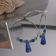 HANDCRAFTED BLUE CRYSTAL PEAR DROP HOOP EARRINGS, LONG LENGTH, NEW, AUSTRALIA