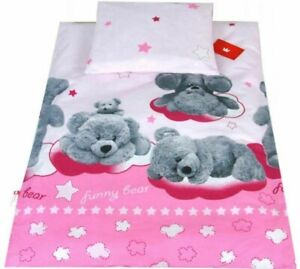 Bedding Set For Baby Stroller Crib Cot Bed Duvet Cover Pillowcase Funny Bear