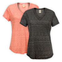 Womens Ladies V-Neck Jersey Aztec Print Top Short Sleeve Casual T-Shirt Tee