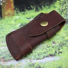 Folding Pocket Knife Sheath Brown Genuine Leather Belt Case US