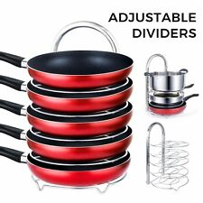 Lifewit Pan Pot Organizer Rack Adjustable 5-Tier Stainless Steel Cookware Holder
