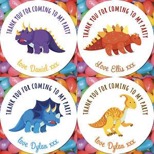 48 CUSTOM Dinosau Birthday Party Personalised Sticker Thank You Sweet Stickers