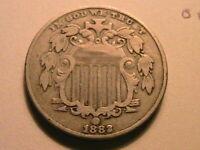 1882 Shield Nickel 5C Choice Fine+ Original Grey Tone US Shield Type 5 Cent Coin