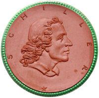 Meissen - SCHILLER - WEIMAR - Porzellan-Medaille 1924 - 50,7 mm - grüner Rand